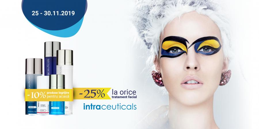 25% reducere la orice tratament facial Intraceuticals, doar la Beauty Code