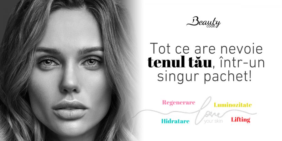 Tot ce are nevoie tenul tău într-un singur pachet. Descoperă noile oferte Beauty Code!